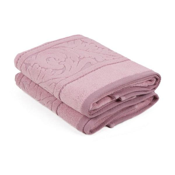 Sada 2 růžových ručníků z bavlny Sultan, 50 x 90 cm
