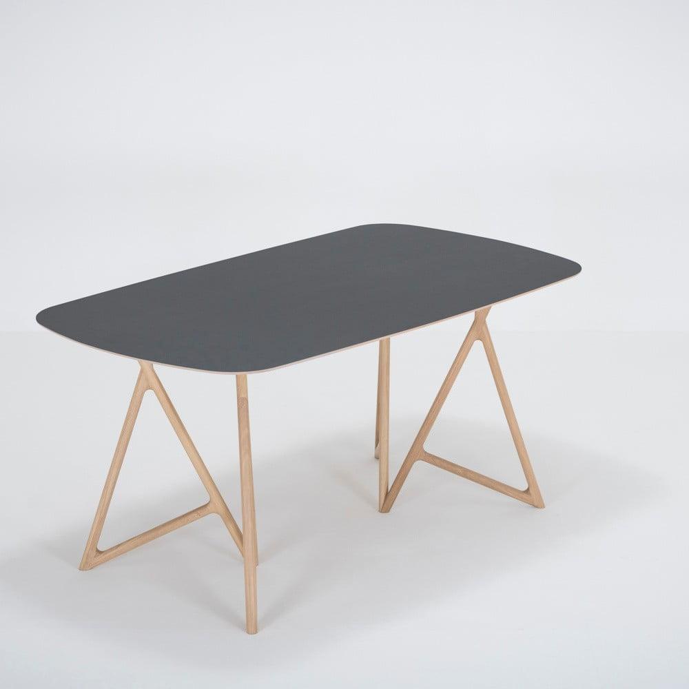 Jídelní stůl z masivního dubového dřeva s černou deskou Gazzda Koza, 160x90cm