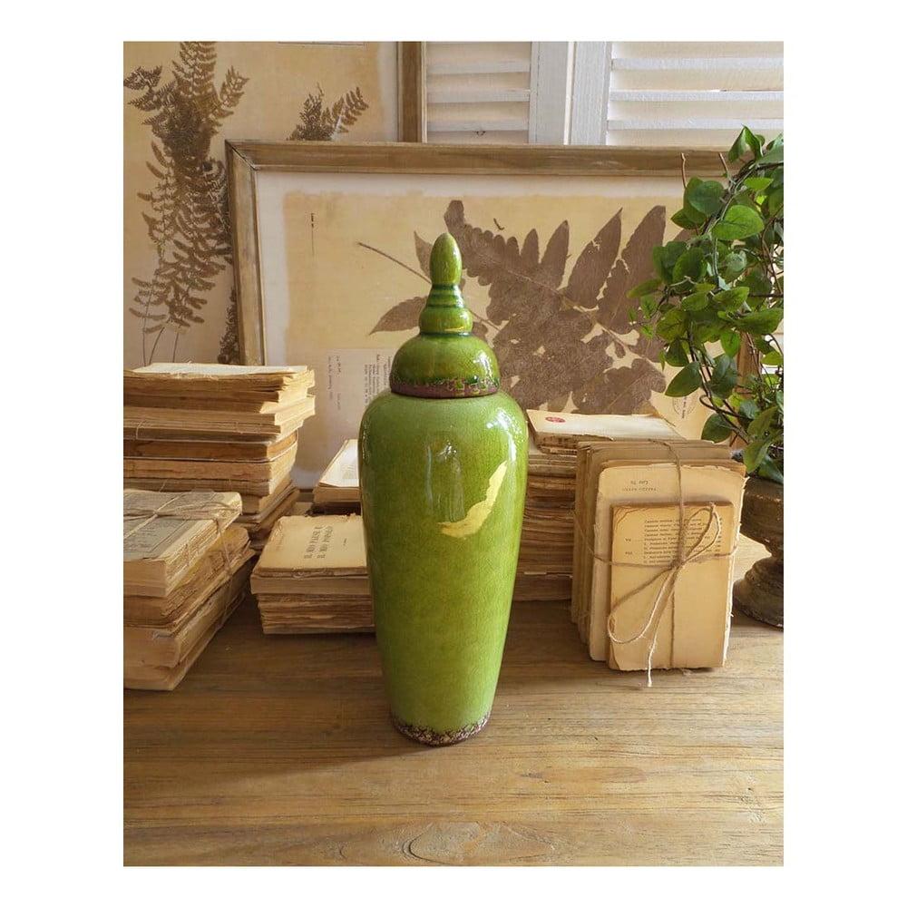 Zelená keramická nádoba s víkem Orchidea Milano, výška 37 cm