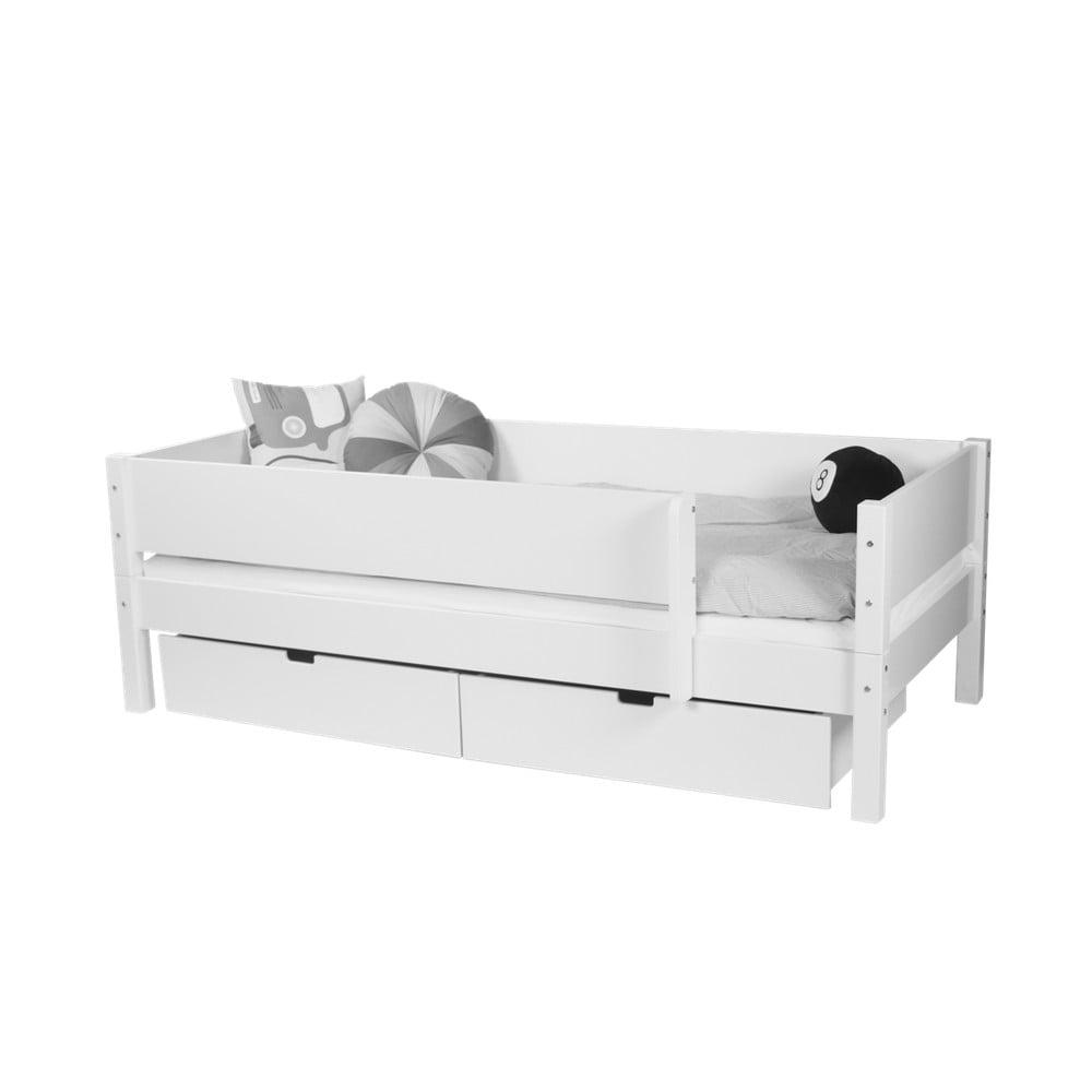 43a92716b998 Bílá dětská postel s bezpečnostními postranními pelestmi a 2 zásuvkami  Manis-h Mimer 90 x