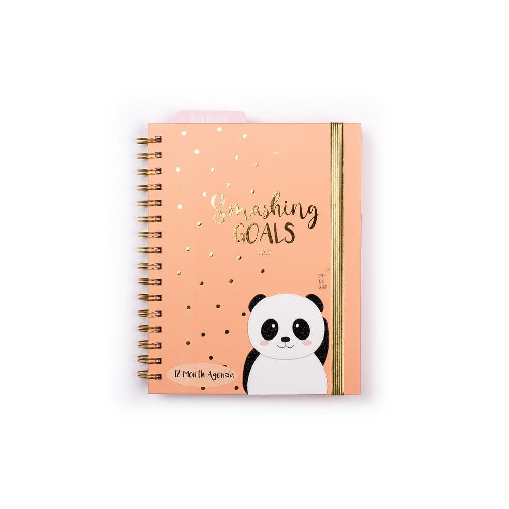 Oranžový diář na rok 2020 v kroužkové vazbě Tri-CoastalDesign Panda