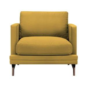Žluté křeslo s podnožím ve zlaté barvě Windsor & Co Sofas Jupiter