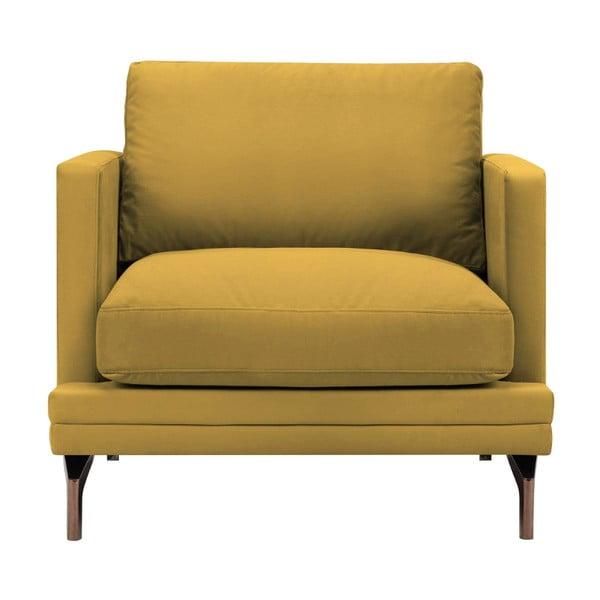 Żółty fotel z konstrukcją w kolorze złota Windsor & Co Sofas Jupiter