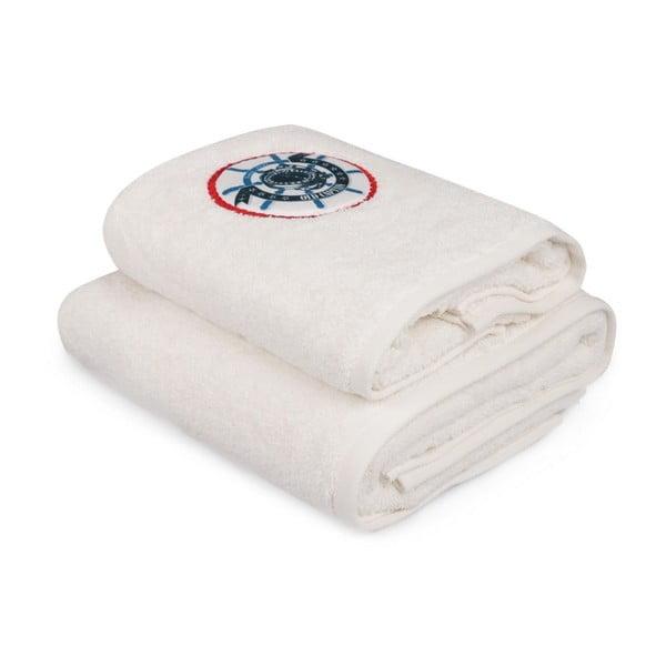 Set bílého ručníku a bílé osušky s barevným detailem Old Captain
