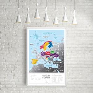 Hartă de răzuit a Europei Scratch Map of the Europe Silver
