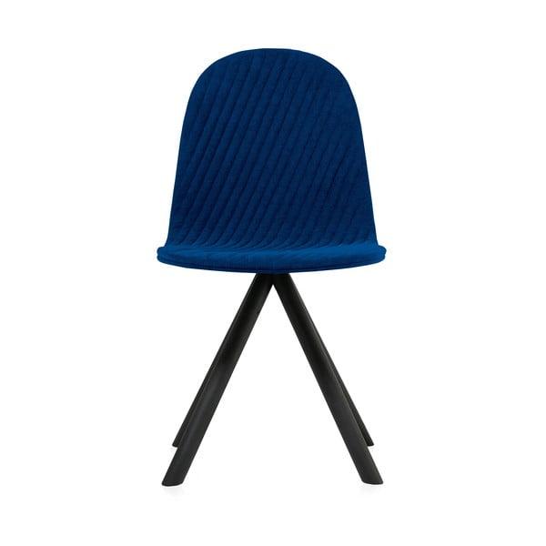 Scaun cu picioare negre Iker Mannequin Stripe, albastru închis