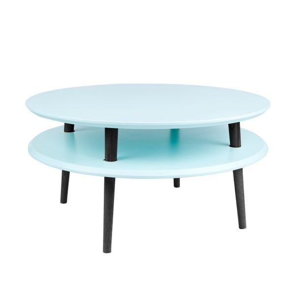 UFO világos türkiz dohányzóasztal fekete lábakkal, Ø 70 cm - Ragaba