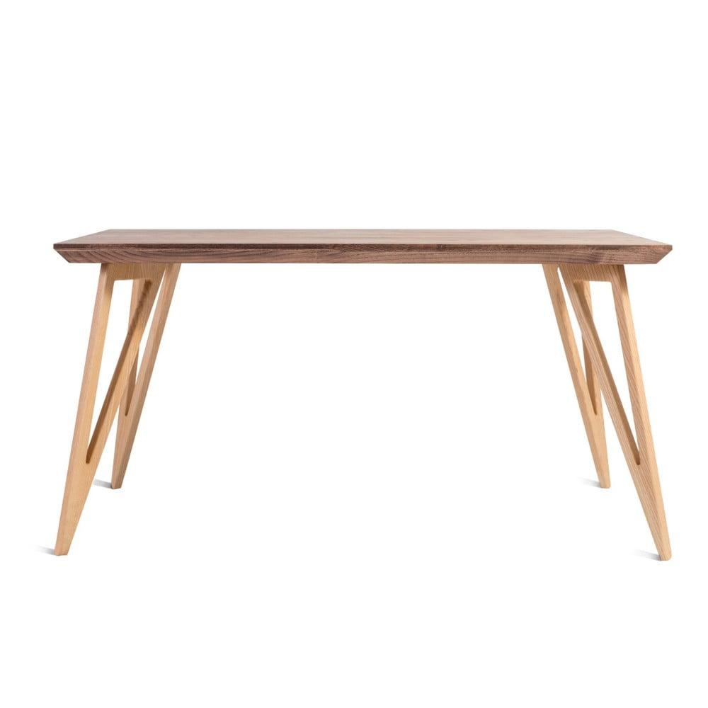 Jídelní stůl z masivního jasanového dřeva Charlie Pommier Triangle, 80 x 80 cm