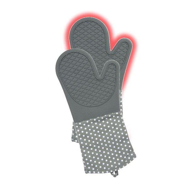 Sada 2 šedých silikonových chňapek Wenko Oven