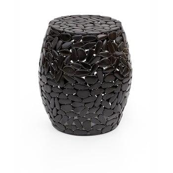 Taburet WOOX LIVING Floral, ⌀ 40 cm, negru de la WOOX LIVING
