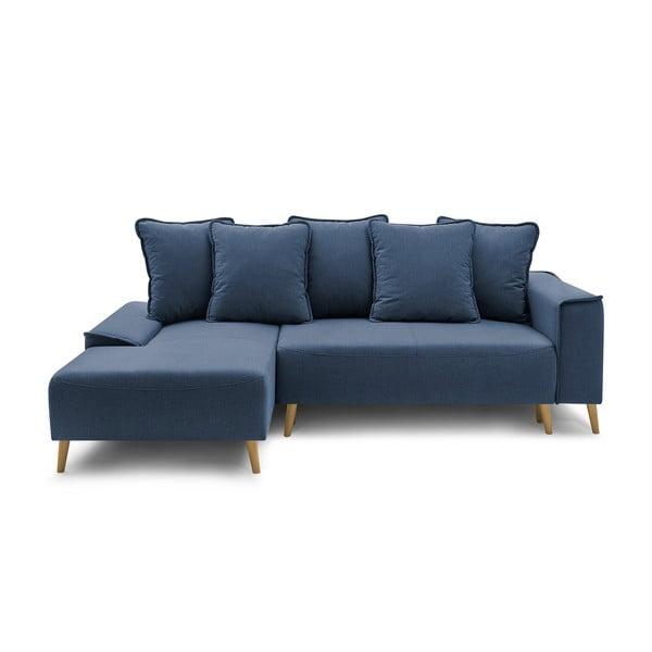 Granatowa rozkładana sofa Bobochic Paris Gaia, lewostronna