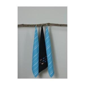 Sada 3 modro-černých kuchyňských utěrek My Home Plus Fish, 50 x 70 cm