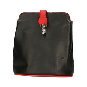 Černá kožená kabelka s červenými detaily Roberto Buono Rita