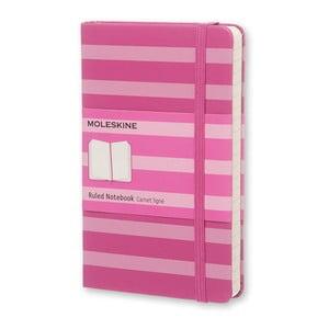 Malý růžový zápisník Moleskine Hard s proužky, linkovaný