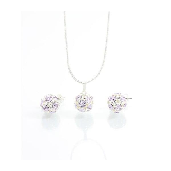 Set náhrdelníku a náušnic s fialovými Swarovski krystaly Yasmine
