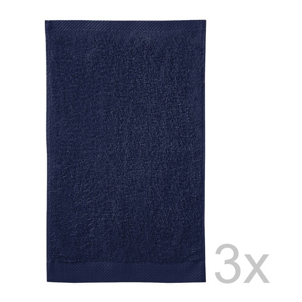 Set 3 ručníků Pure Indigo, 30x50 cm
