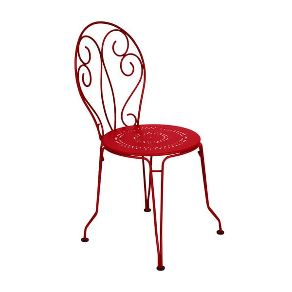 Sytě červená kovová židle Fermob Montmartre