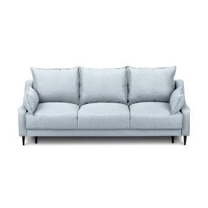 Světle modrá rozkládací třímístná pohovka súložným prostorem Mazzini Sofas Ancolie