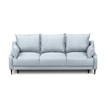Canapea extensibilă cu 3 locuri și spațiu pentru depozitare Mazzini Sofas Ancolie, albastru deschis
