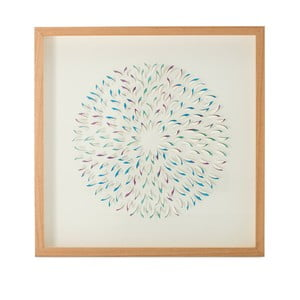 Ručně vyráběná nástěnná dekorace v rámu Vivorum Dandelion, 60x60cm