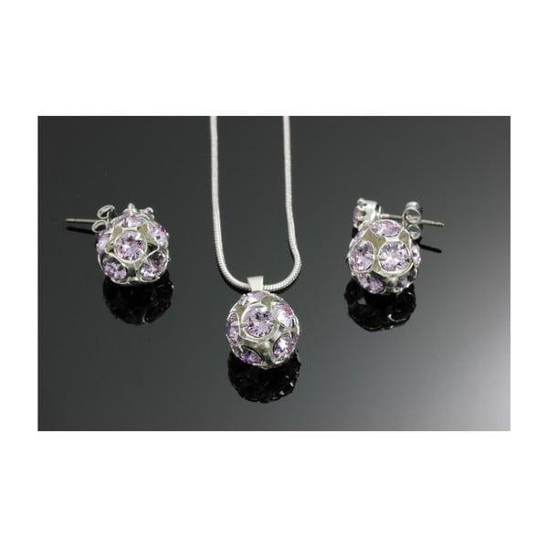 Set náhrdelníku a náušnic s fialovými krystaly Swarovski® Yasmine