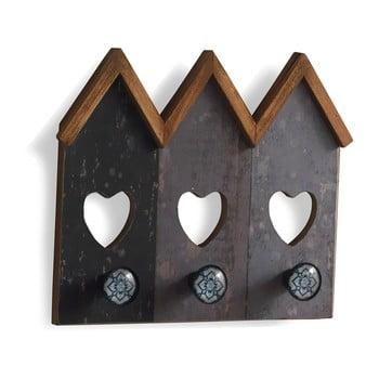 Cuier de perete cu 3 cârlige Geese Houses, gri imagine