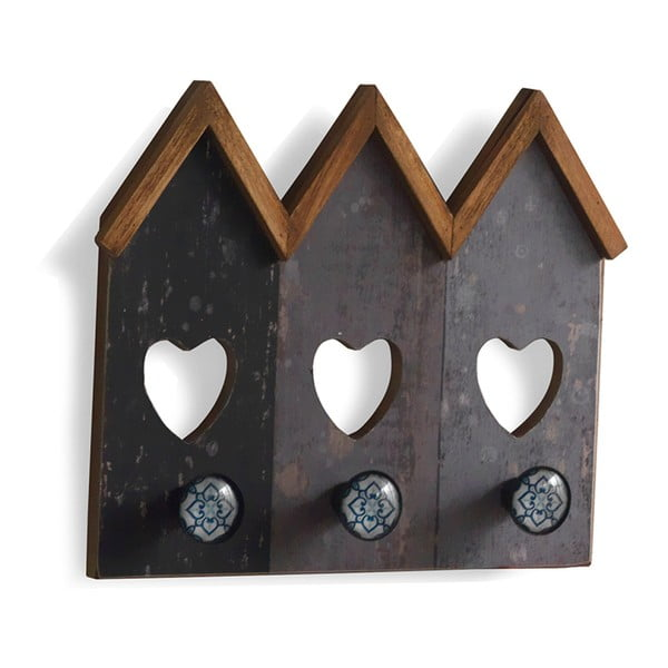 Cuier de perete cu 3 cârlige Geese Houses, gri