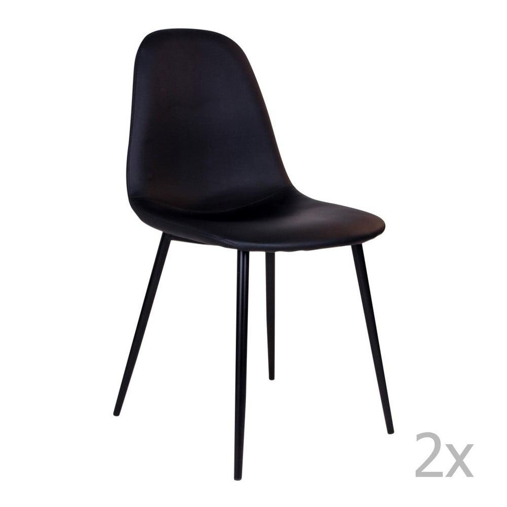Sada 2 černých židlí s černými nohami House Nordic Stockholm