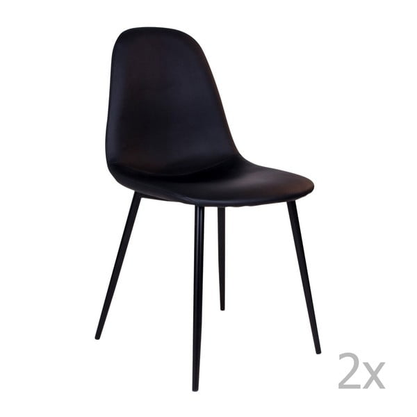 Zestaw 2 czarnych krzeseł z czarnymi nogami House Nordic Stockholm