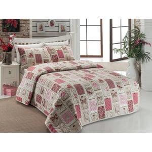 Sada přehozu přes postel a dvou povlaků na polštář Ekol Dusty Rose, 200x220 cm