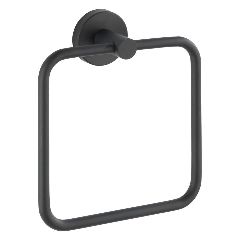 Produktové foto Černý nástěnný držák na ručníky z nerezové oceli Wenko Mezzano Ring