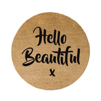Covor intrare rotund Artsy Doormats Hello Beautiful, ⌀ 70 cm, negru