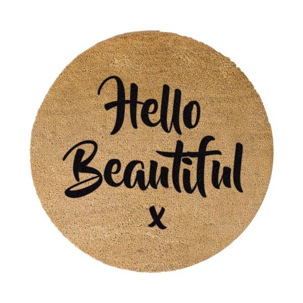 Černá kulatá rohožka z přírodního kokosového vlákna Artsy Doormats Hello Beautiful, ⌀70cm