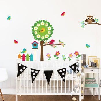 Set autocolante de perete pentru camera copiilor Ambiance Little Owl and His Friends de la Ambiance