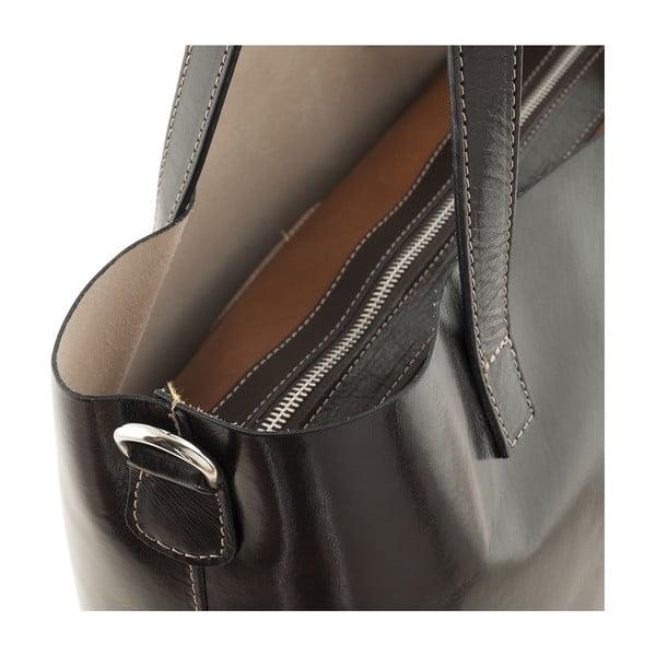 Kožená kabelka Italian Simplicity, tmavě hnědá