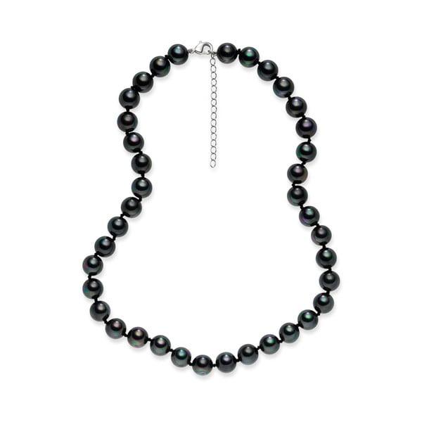 Tmavě šedý perlový náhrdelník Pearls of London Mystic, délka 45 cm