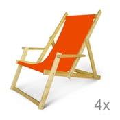 Sada 4 dřevěných nastavitelných lehátek s područkami JustRest, oranžové