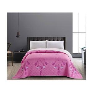 Růžovo-bílý oboustranný přehoz z mikrovlákna DecoKing Sweet Dreams, 240x260cm