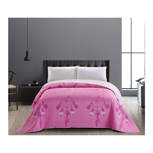 Różowo-biała dwustronna narzuta z mikrowłókna DecoKing Sweet Dreams, 170x210 cm