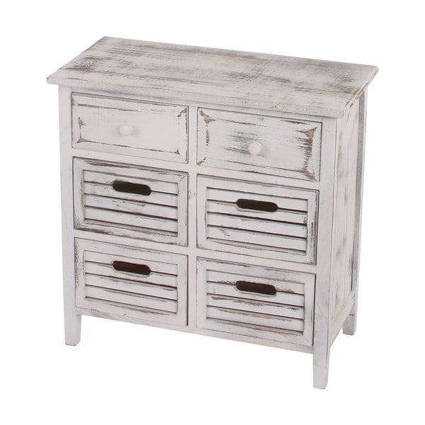 Bílá dřevěná komoda se 6 zásuvkami Mendler Shabby Chic