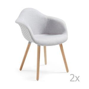 Sada 2 světle šedých jídelních židlí La Forma Kenna
