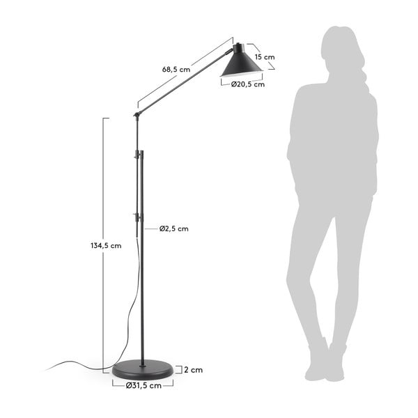 Černá stojací lampa La Forma Odine