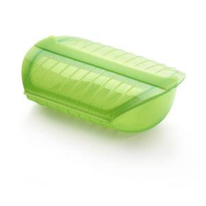 Zelená silikonová nádoba s táckem na vaření v páře pro 3- 4 porce Lékué Steam Case