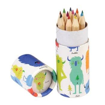 Set 12 mini creioane colorate Rex London Monsters Of The World imagine
