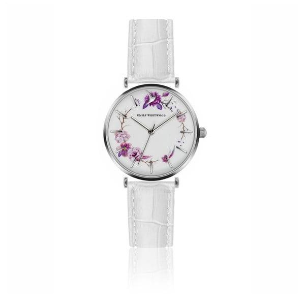 Dámske hodinky s bielym remienkom z pravej kože Emily Westwood Periwinkle