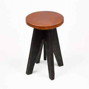 Černá stolička se sedákem z kůže Simla Round