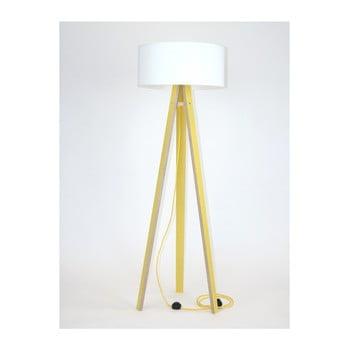 Lampadar cu abajur alb și cablu galben Ragaba Wanda, galben de la Ragaba