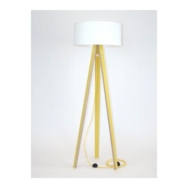 Wanda sárga állólámpa, fehér búrával és sárga kábellel - Ragaba