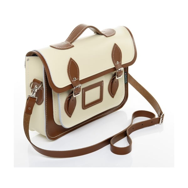 Kožená kabelka Satchel 40 cm, krémová a hnědá