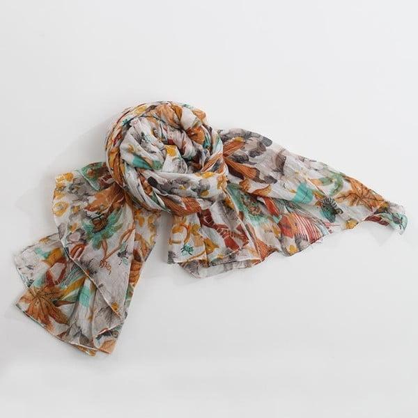 Šátek s motivem květin, oranžová/zelená